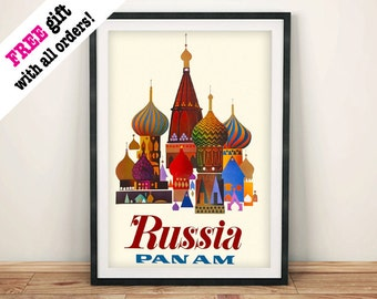 RUSSIA TRAVEL POSTER: Vintage Basilica Cathedral Travel Advert Reproduction Art Print Wall Hanging