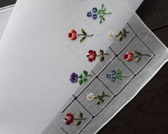White cotton vintage handkerchief with embroidery flower floral hand rolled