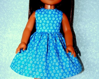 "Dress for 14.5"" Wellie Wishers or Melissa & Doug Doll Clothes handmade turquoise tkct1227 rts READY TO SHIP"