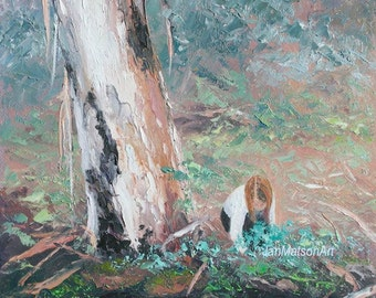 Landscape painting, canvas art, Australian gum trees, impressionist landscape art, paintings of trees, Etsy Art, Jan Matson