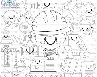 75%OFF - Construction Stamp, COMMERCIAL USE, Digi Stamp, Constructor Digistamp, Construction Coloring Page, Constructor Clipart, Stamps