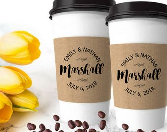 Wedding Coffee Sleeves Stamp - Coffee Wedding Favor - Coffee Cup Sleeve - Bridal Shower Custom Coffee Favor -Personalized Round Rubber Stamp
