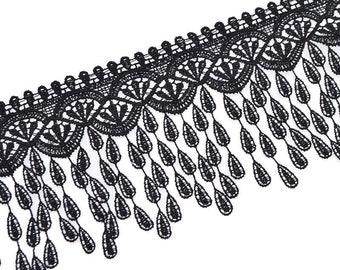 Black lace trim, Vintage style trim, width 8cm, Lace black, home decor trim, Sewing lace trim, Craft lace-1 \ yard