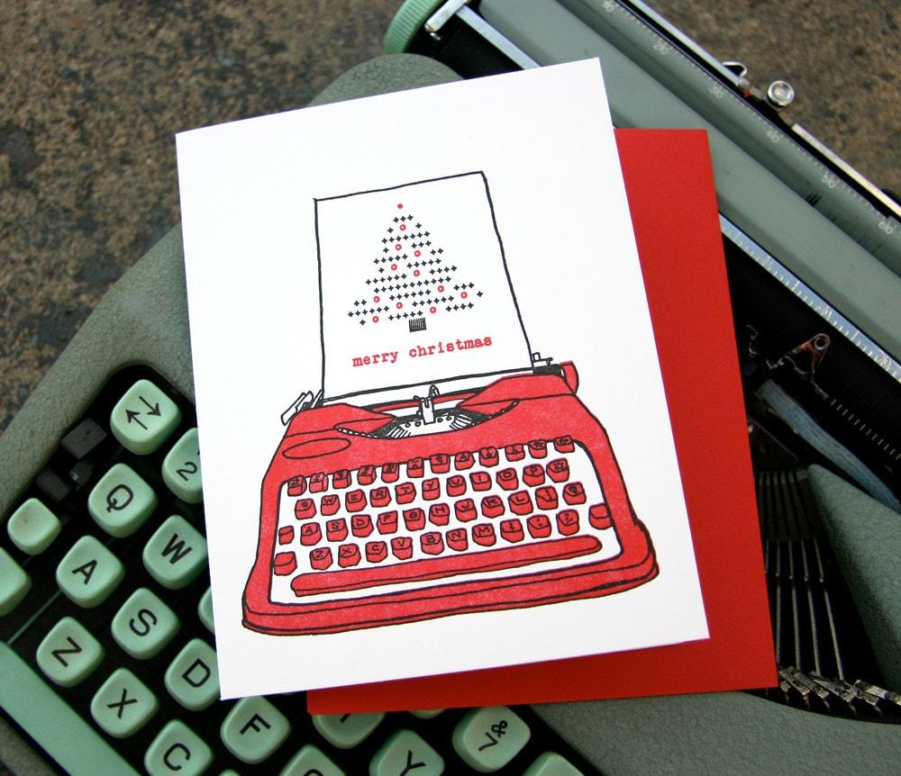 letterpress typewriter christmas single card