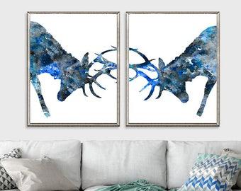 Watercolor deer art print, woodland animal print, blue gray decor, deer horns- set of 2 prints  - H240