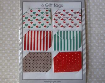 Set of 6 mini envelopes gift messages scrap cardstock patterns...