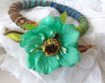 SALE Silk wrapped bangle with silk flower embellishment