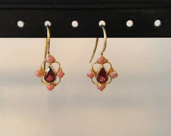 Coral and garnet earring