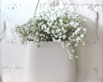 Simple White Porcelain Hanging Wall Pocket, Wall Hanging Vase, Wall Decor,  Living With
