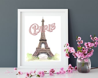 Paris Watercolor Printable, 16x20 Eiffel Tower Painting, French Decor Printable Art, Large Paris Art, French Chic Decor, Vintage Style Art