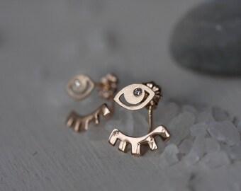 Gold evil eye earrings with diamonds - Evil eye - Convertible earrings - Evil eye earrings - Eye studs - Ear jackets with diamond