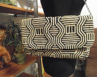 Vintage Chico's Beaded Envelope shoulder bag ~ Black and white ~ Gorgeous ~
