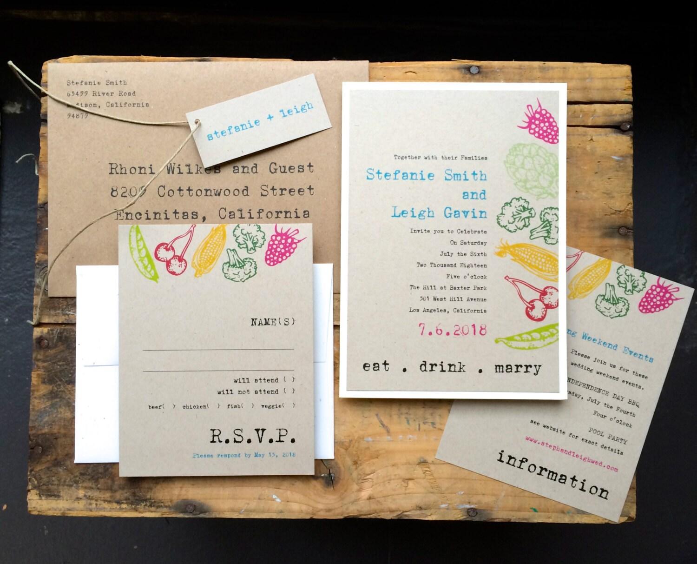 Wedding Invitations Foodie Wedding Invitations Rustic