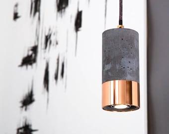 Single Concrete & Copper Lamp with Textile Cable