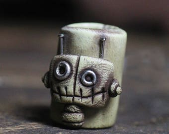 Robot dreadlock 10mm brown barrel bead