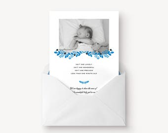 Baby birth card, printable baby announcement, newborn announcement, new baby photo card