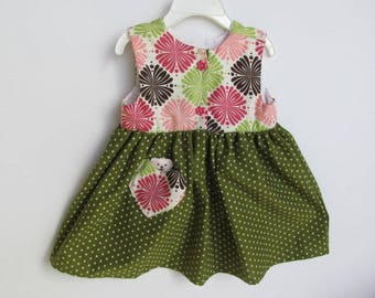 Baby's First Dress, 6 Mth , Comfy Front Button Dress, Girl Pink Green Dress,  Sleeveless dress,  Flowered infant dress