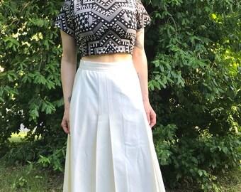 High Waist Lightweight Wool Cream Maxi Skirt