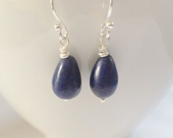 Blue Lapis Lazuli Earrings, Sterling Silver Earrings, Teardrop Gemstone Jewellery, Silver Dangle Earrings, Dark Blue Earrings, Gift For Her