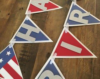 Patriotic Happy Birthday Banner! 4th of July Birthday- Labor Day Happy Birthday Banner! Red, White, and Blue Happy Birthday Banner