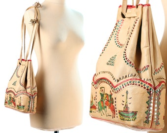 Bucket Bag Syrian Ethnic Bag Patterned Vintage 90s Shoulder Bag Cream Beige Leather Handbag Drawstring Bag Unique Handmade Novelty Print Bag