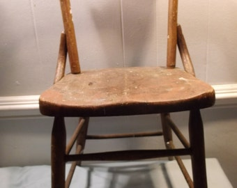 Vintage, Antique, Wood, Children's, Chair, Furniture, Chair 2, In good to fair condition, Stamped Heywood Wakefield, buffalo