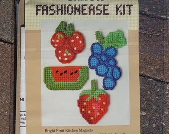 Plastic Canvas Kit, Bright Fruit Kitchen Magnets, by Caron, No. 4114, Kitchen Magnet Kit, Vintage,  Fruits in Plastic Canvas, Kitchen Decor