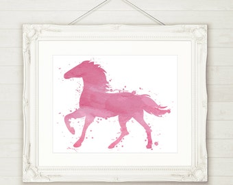 Pink Horse Watercolor art Printable Wall Art INSTANT DOWNLOAD - Printable File, Watercolour Print, 3 sizes included, Girls Room Decor