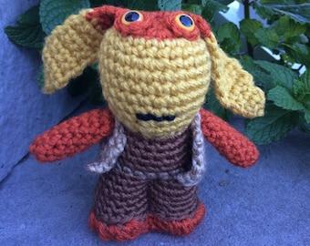 Star Wars Jar Jar Binks Amigurumi, hand crocheted