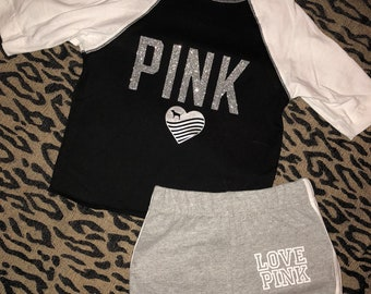 2T Pink inspired baseball tee set