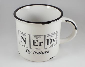 NERDY By NATURE Periodic Table Coffee Cup by Periodically Inspired - 15 oz. Large White Ceramic Mug - Nerdy Gift For Chemist