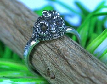 Handmade Girl owl ring in sterling silver
