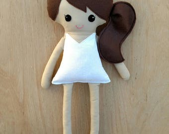 Dress up doll, dress up fabric doll, rag doll, brown hair plush doll, brunette hair base doll, soft dress up doll, side pony tail