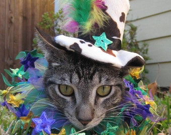 Cat Birthday Hat -Cat Party Hat - Cat Party Collar -Cat Top Hat - Cat Mardi Gras Hat - Cat top hat and party collar