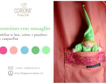 Rattle Gnomes-pocket dolls-Waldorf pocket-elves of felt and felt-gnome Bell Waldorf
