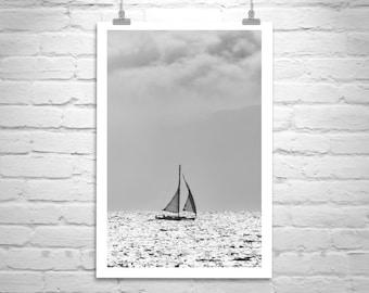 Sailboat Photography, Black and White, Nautical Print, Berkeley, San Francisco Bay, Sailing Art, Marin County, Minimalist, Gallery Wrap
