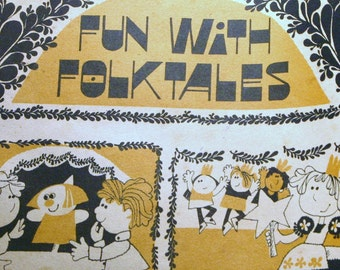 Vintage Fun With Folktales Classroom Activity Book Paper Dolls Puppets Games Workbook Ephemera Cut Outs Fairy Tales Princess Prince Frog