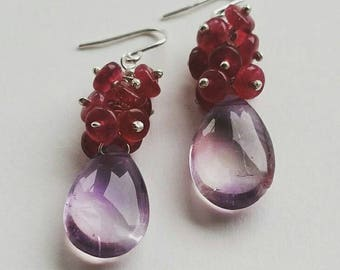 925 Sterling Silver Amethyst and Pink Spinel Cluster Earrings - Pastel, Pretty in Pink, Feminine, Holiday Colour