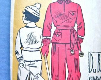 Spring Sale Vintage Du Barry 1308B  1930s children's snowsuit & hat sewing pattern   Size 6