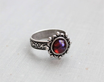 Dragons Breath Mexican Fire Opal Ring. Antique Silver or Antique Brass. Adjustable
