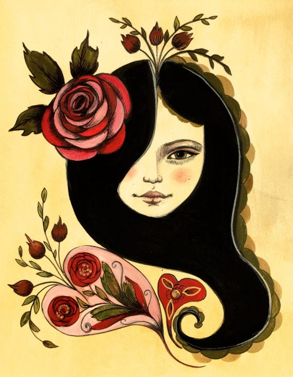 Red rose in her hair..