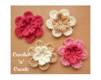 Layered Petals Flower Motif Crochet Pattern (DOWNLOAD) CNC75