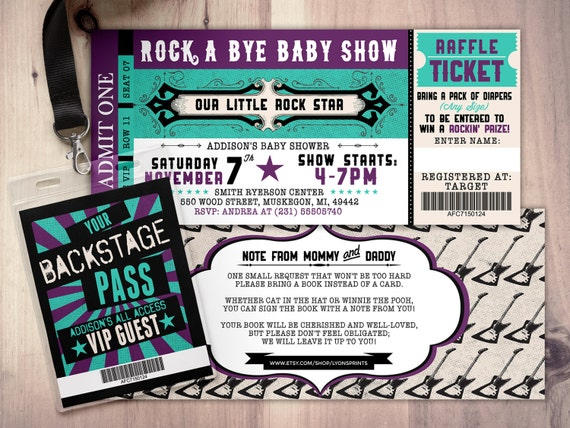 Rock star concert ticket baby shower invitation coed baby rock star concert ticket baby shower invitation coed baby shower invitation rock baby shower invitation couples baby shower music filmwisefo Image collections