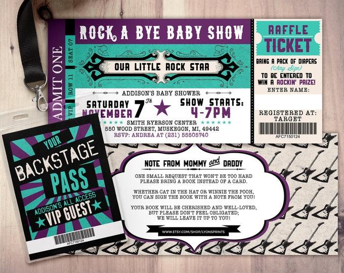 ROCK STAR concert ticket baby shower invitation-Coed baby shower invitation- Rock baby shower invitation- couples baby shower - Printable