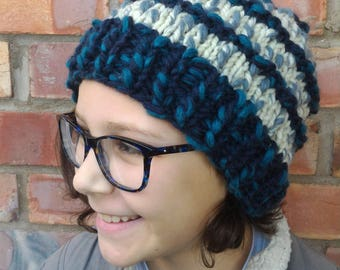 Ready for winter chunky knit play in the snow bauble bobble hat