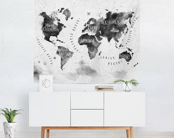 Map wall hanging etsy world map gumiabroncs Gallery