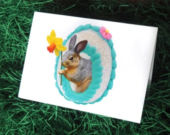 Easter Squirrel in Sugar Egg Glitter Card, Squirrel Easter Card