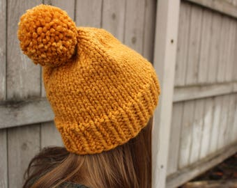 Simple Knit Beanie W/ POM