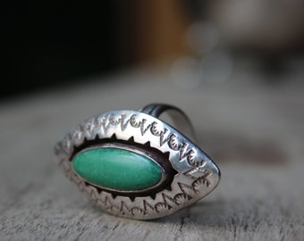 Vintage Sterling and Green Turquoise Shadowbox Ring 12 Grams