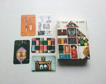 1958 Charles Eames House of Cards ~ Mid-Century Modern Building Game by Ravensburg ~ Atomic Starburst ~ Wolken Kuckucks Haus